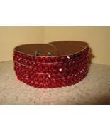 BRACELETS RHINESTONE BLING WIDE RED METALLIC LE... - $12.99