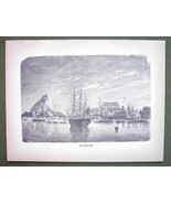 THE BERMUDAS Islands Sailship in Harbor - 1858 ... - $15.15