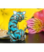 Vintage Tiger Cat Brooch Pin Enamel Alioto Adri... - $94.95