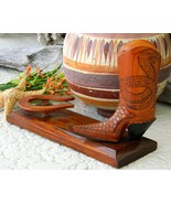 Vintage Cowboy Boot Wood Carving Snakes Horsesh... - $39.95