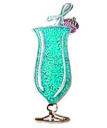 Ovarian Cancer Pin Awareness Teal Bling Ribbon ... - $10.97