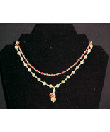 Sterling Silver Coral Serpentine 2 Strand Necklace - $44.99