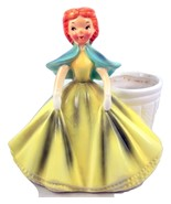 Vintage Napco figural lady planter yellow dress... - $28.00
