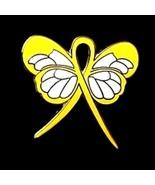 Adenosarcoma Pin Yellow Awareness Ribbon Butter... - $10.97