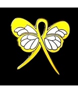 Amber Alert Pin Yellow Awareness Ribbon Butterf... - $10.97