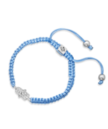 Light Blue Macrame Silver-Tone Crystal Hamsa Fa... - $5.49