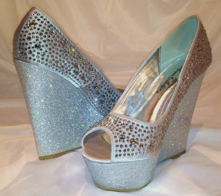 New 2012  Silver Crystal Sateen Open Toe Glitter Wedge Evening Shoes 9M SO HOT!!