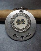 Hand Stamped Go Blue Michigan Keychain - $19.60