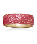 Gold Tone and Pearlescent Pink Enamel Honeycomb... - $12.89