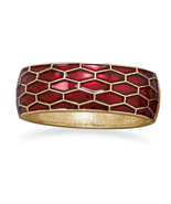 Gold Tone Pearlescent Dark Red Enamel Honeycomb... - $12.89