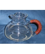 Vintage Clear Pitcher Wicker Handle Mid Century... - $54.00