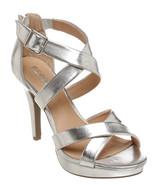 Report Silver Criss Cross Livy Platform Sandals... - $30.00