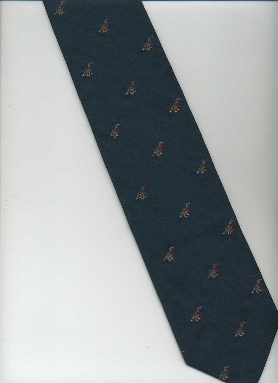 ROBERT TALBOTT Tie ~ Green, Red, Beige ~ Ducks, Polka Dots, Hand Sewn, Silk Tie