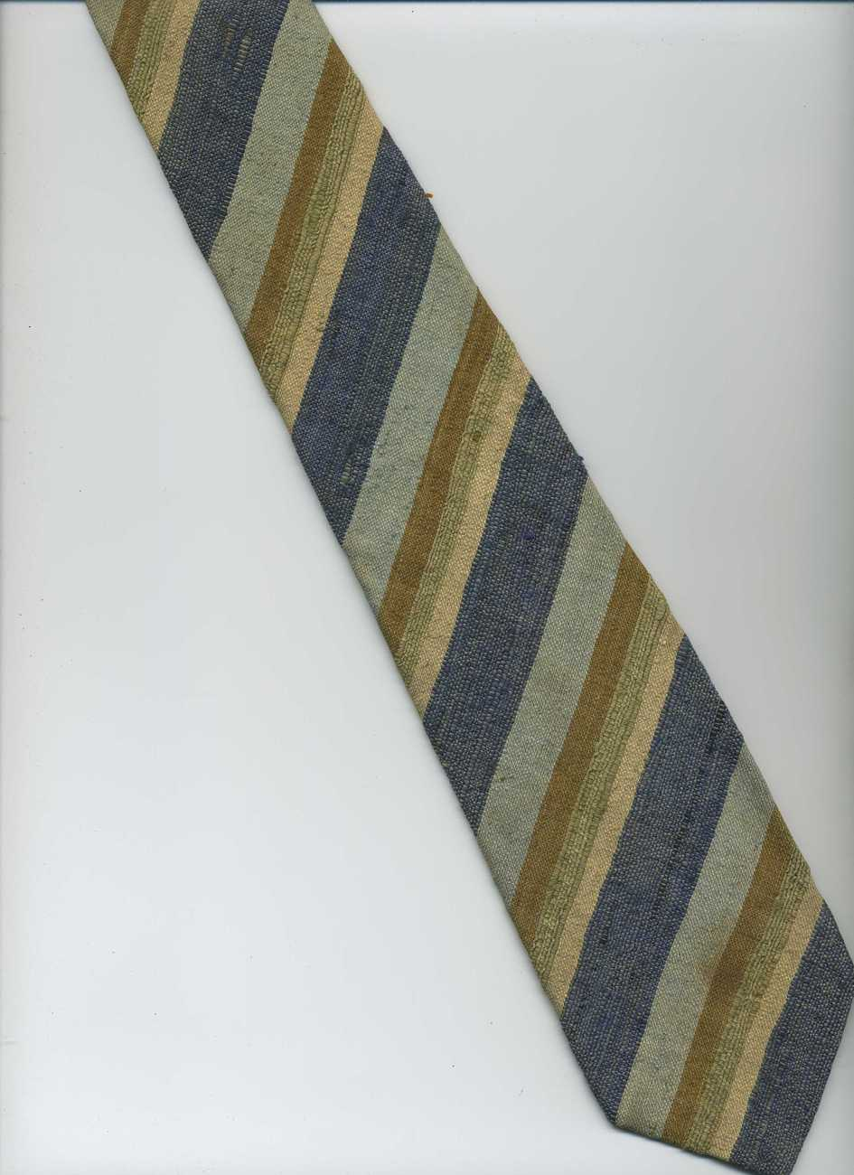 Retro TALBOTT Cravats Tie ~ Blue, Tan, Green, Beige ~ Striped, Hand Sewn, Silk