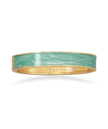 Pearlescent Green Enamel Fashion Hinged Bangle ... - $6.00