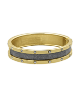 Dark Grey Sparkle Gold Tone Hinged Bangle Brace... - $16.88