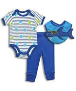 NEW Bon Bebe baby boy clothes 3-pc BODYSUIT SET... - $15.10