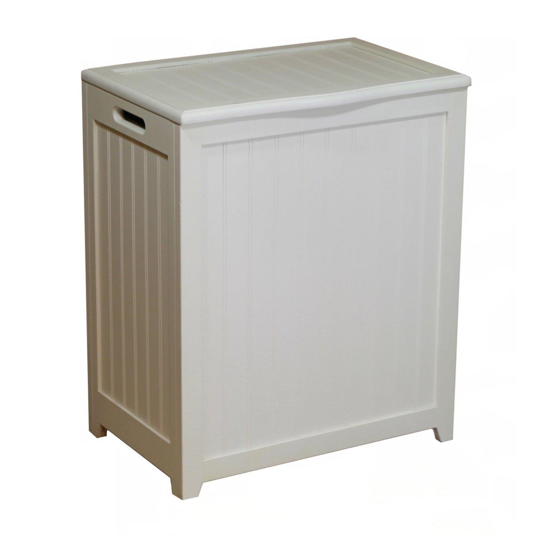 Wood Hamper Laundry Basket Clothes Hamper with Lid White