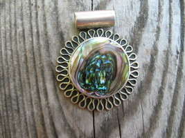 Abalone Slide Pendant Mexico Sterling Silver vi... - $99.00