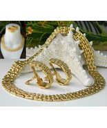 Vintage Collar Choker Necklace Earrings Gold To... - $29.95