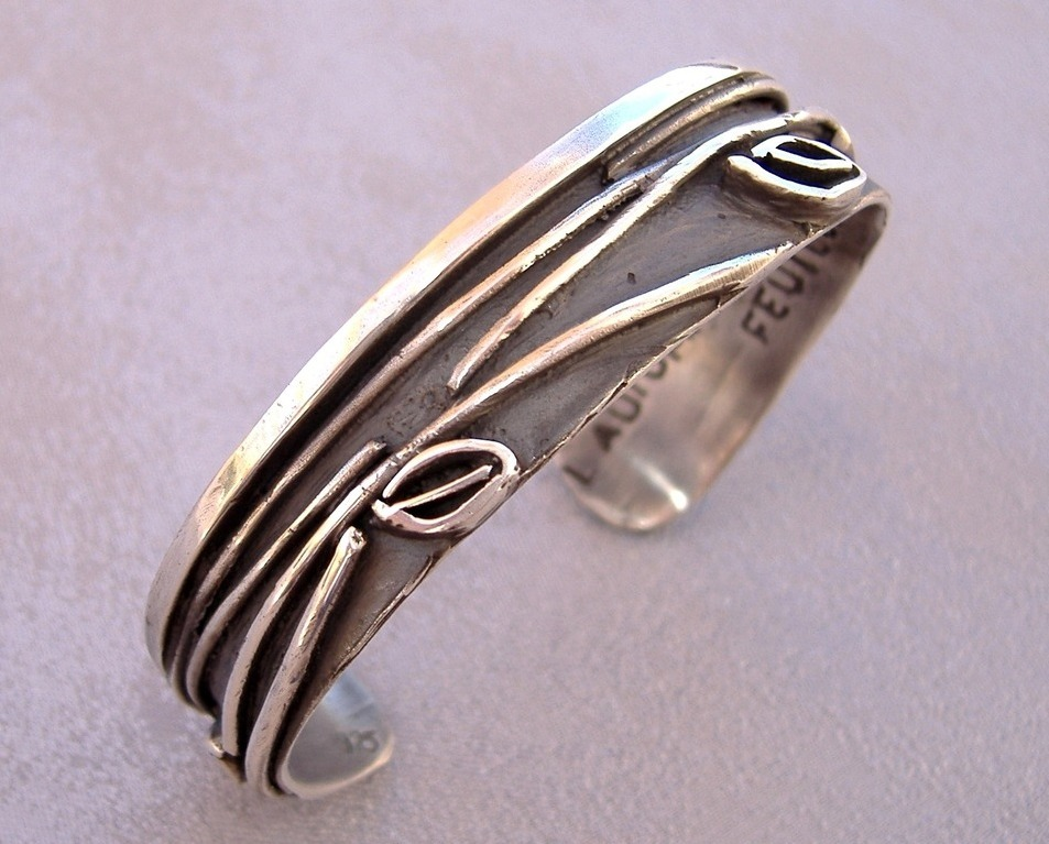 Leaf Cut Bracelet Unique Handcrafted Silver Cuff