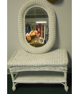 White wicker coffe table and mirror set possibl... - $39.60
