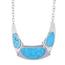Stainless Steel Turquoise Oval Crescent Shape 1... - $18.99