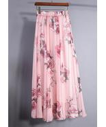 Pretty Pink Rose Garden Chiffon Maxi Skirt. Sum... - $59.90