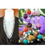 Vintage Glass Beads Pearls Flapper Necklace Mul... - $31.95