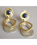 Deep Blue Swarovski Crystal Earrings Clip On Un... - $115.00