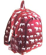 Elephant Print Full Sized Backpack (Burgundy Red) - $24.40