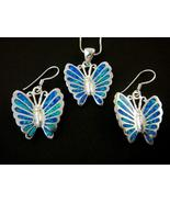 925 Silver Earrings Pendant Set Hawaiian Opal B... - $59.00