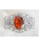 Edwardian Baroque Honey Cut Glass Silvertone Fi... - $39.00