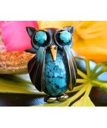 Vintage Owl Bird Brooch Pin Enamel Blue Glass J... - $17.95