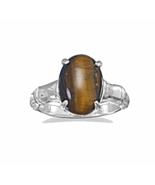 Exoctic Tiger's Eye Ring with Sterling Silver B... - $20.98