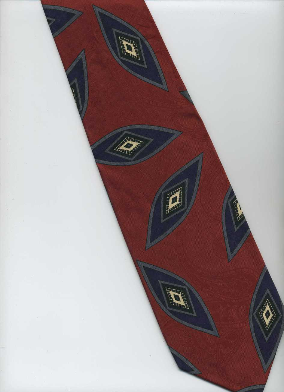 TALBOTT STUDIO Tie ~ Red, Gray, Dark Blue, White ~ Hand Sewn, Silk Tie