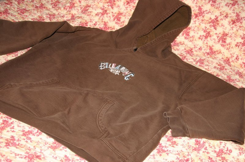 Boys Size Large Surf Gear Brand Billabong Brown Logo Front & Back Hoodie