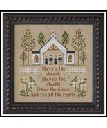 CLEARANCE Here's The Church cross stitch chart ... - $4.25