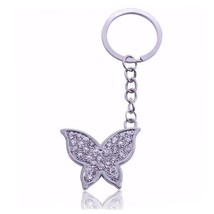 Beautiful Chrome Crystal Butterfly Keyring Keyc... - $6.19