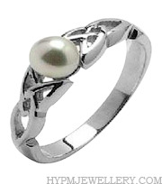 Handcrafted Sterling Silver Celtic Trinity Knot Ring with Synthetic Pearl