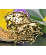 Vintage Two Leopard Jungle Cats Heads Brooch Pi... - $49.95