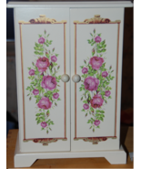 White Painted Wood Jewelry Armoire - Pink flora... - $15.00
