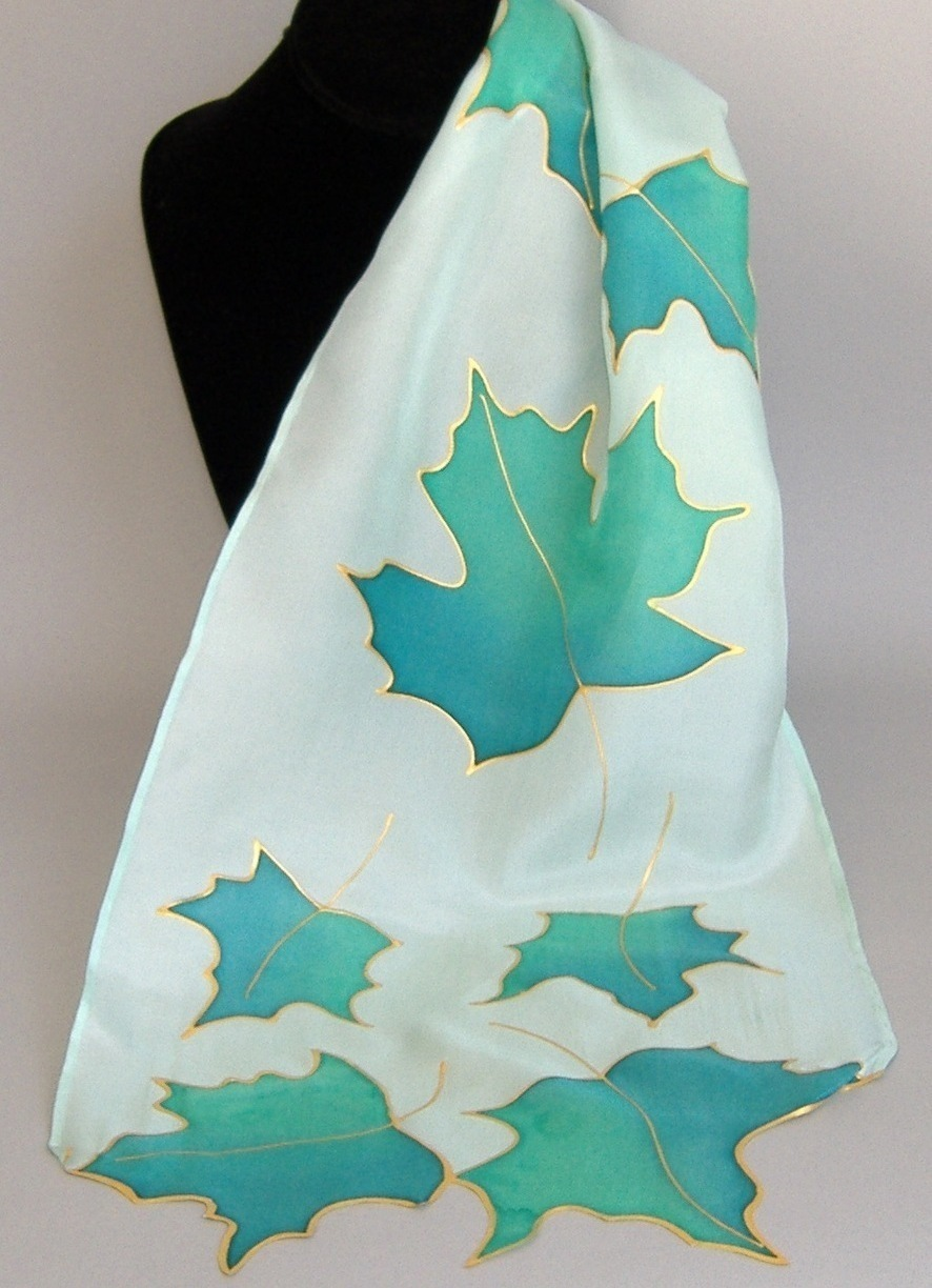 Maple Leaves Hand Painted Silk Scarf Green Leaf Ladies Scarves