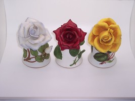 Lot of 3 Franklin Mint Bone China Bells with Ro... - $28.04