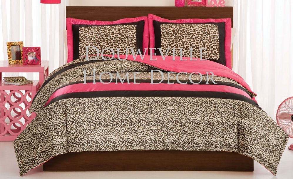 zulu animal print. 6PC Leopard Love Animal Hot Pink Comforter Set QUEEN