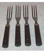 Four Wood Handle Three Prong Tine Dinner Flatware Forks Civil War Era - $29.95
