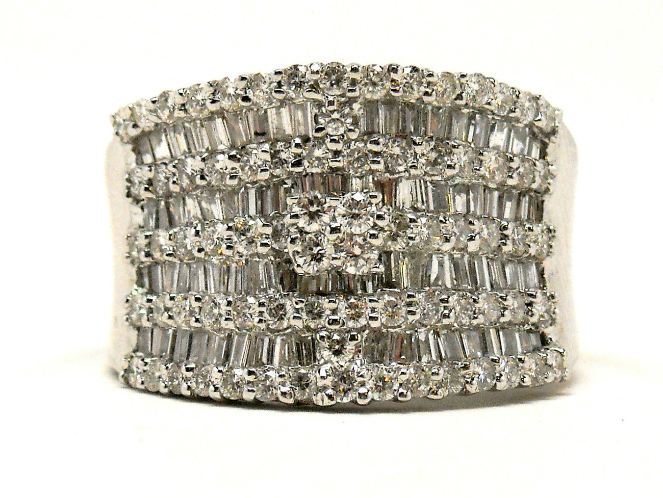 NEW 14K White Gold Diamond Wedding Band Ring 2.05 cts Size 6.5 Retail $4,350