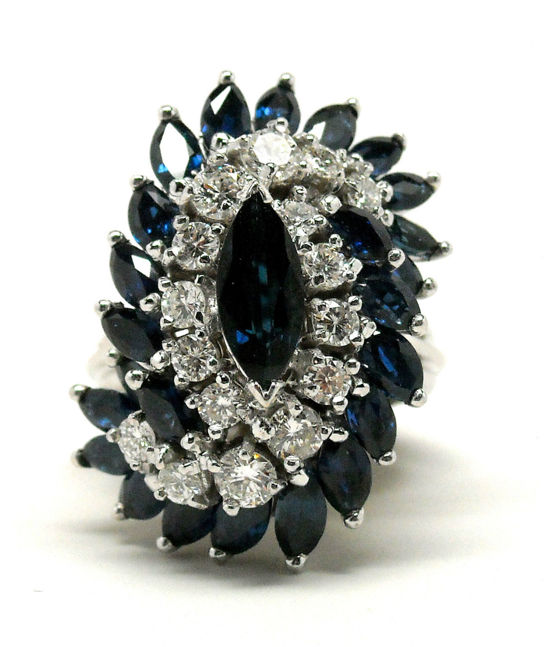 NEW 6 cts 18K White Gold Marquis Sapphire and Diamond Ring Size 6 Retail $11,500