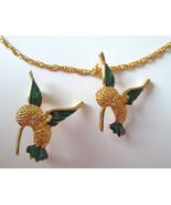 "Hummingbird Pin & Necklace 17.5"" chain Gold ton... - $11.87"