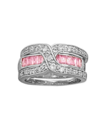 Rhodium Plated Silver 2 Ring Set with Pink CZ B... - $26.87